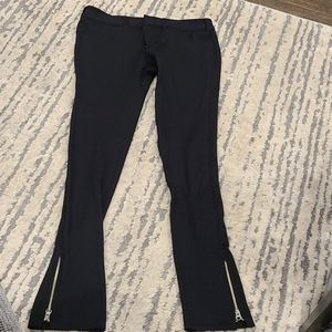 Vince black stretch pants with zippered bottoms